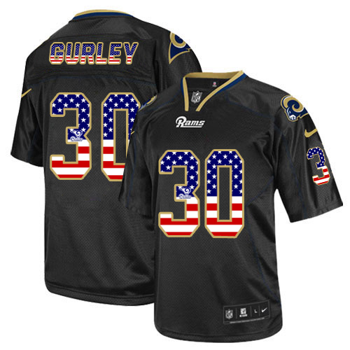 Men's Nike Rams #30 Todd Gurley II Black USA Flag Fashion Elite Stitched Jersey