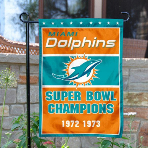 Miami Dolphins Double-Sided Garden Flag 002 (Pls Check Description For Details)