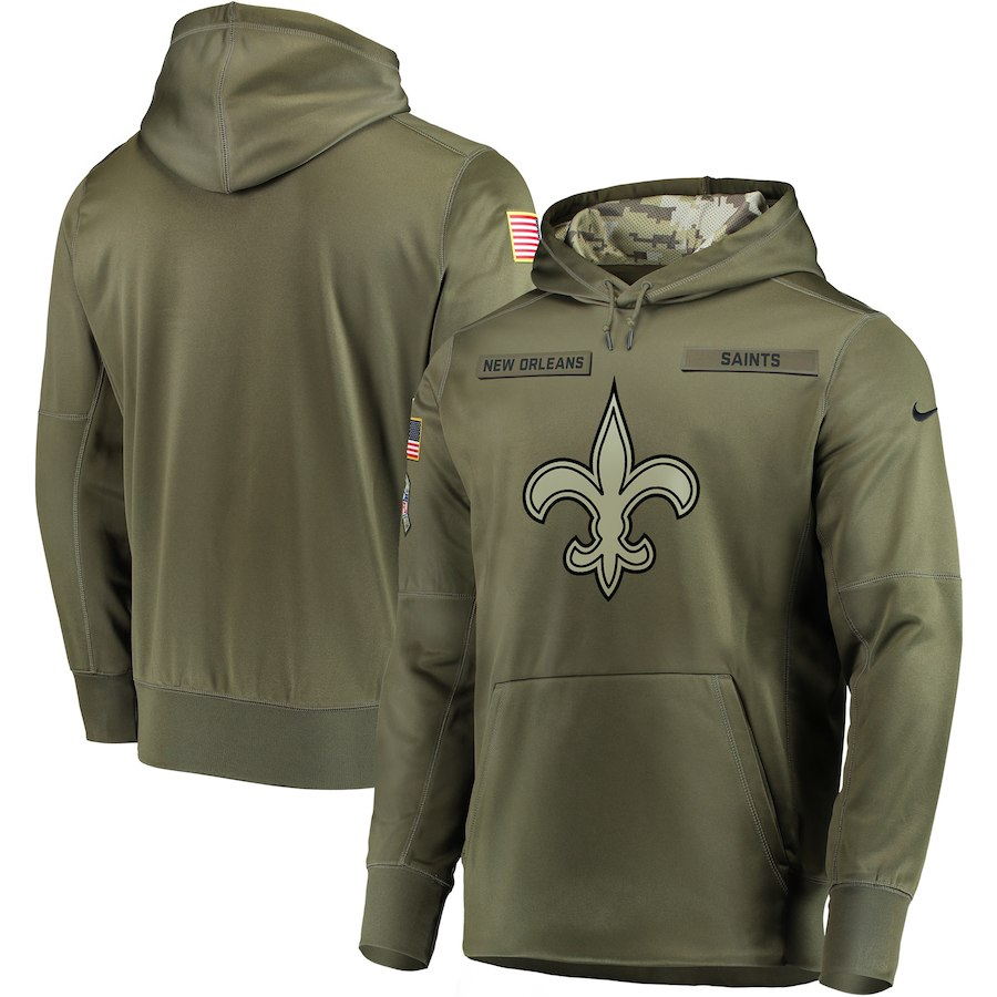 Men's New Orleans Saints 2018 Olive Salute to Service Sideline Therma Performance Pullover Stitched NFL Hoodie