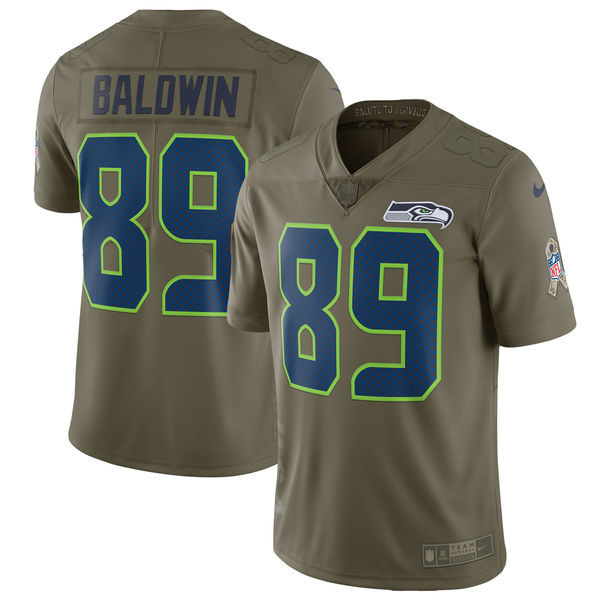 Men's Nike Seattle Seahawks #89 Doug Baldwin Olive Salute To Service Limited Stitched NFL Jersey