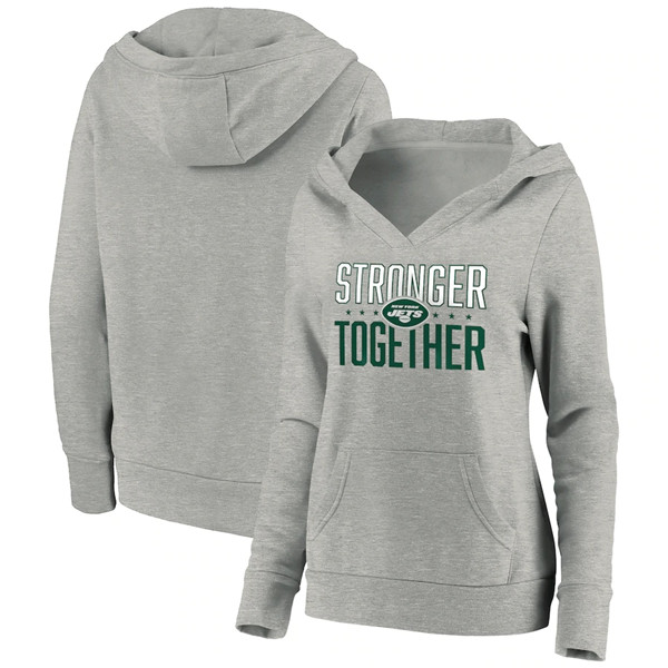 Women's New York Jets Heather Gray Stronger Together Crossover Neck Pullover Hoodie(Run Small)