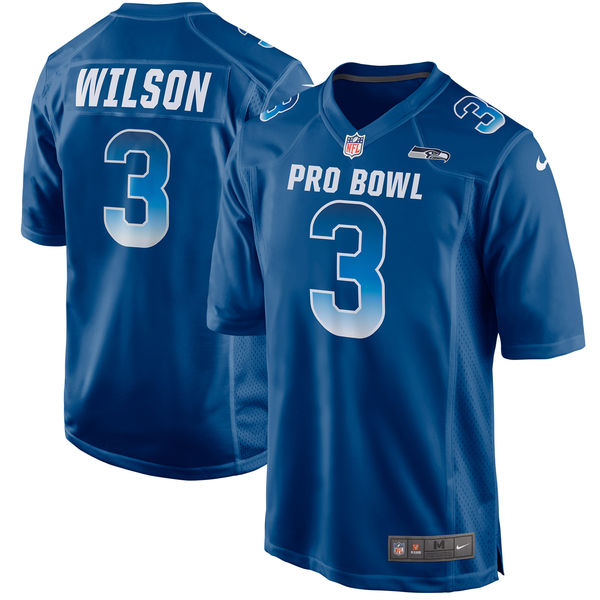 Men's NFC Russell Wilson Royal 2018 Pro Bowl Game Jersey