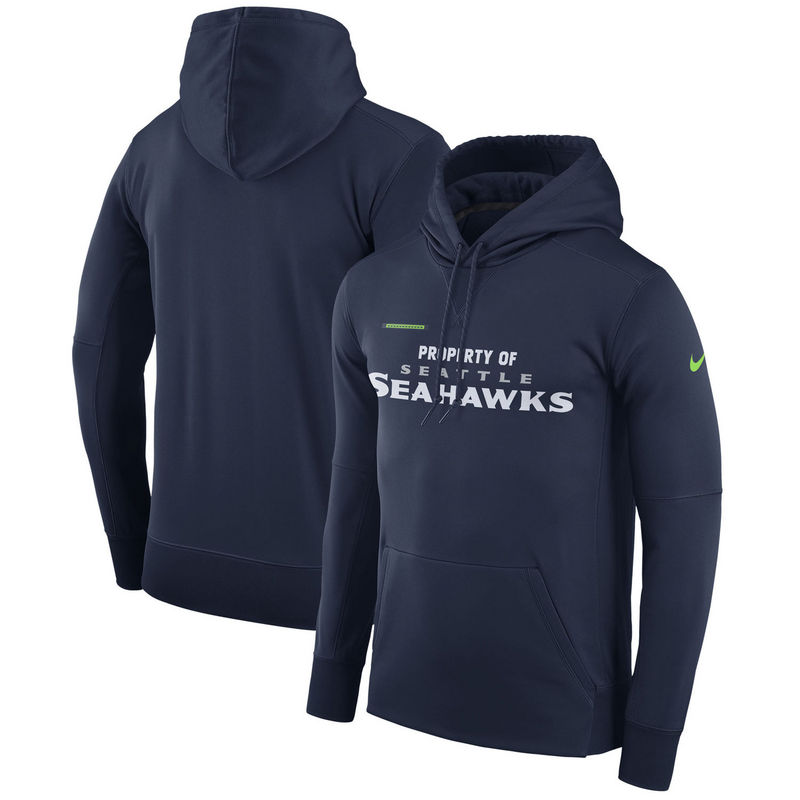 Men's Seattle Seahawks Nike Navy Sideline Property Of Performance Pullover Hoodie