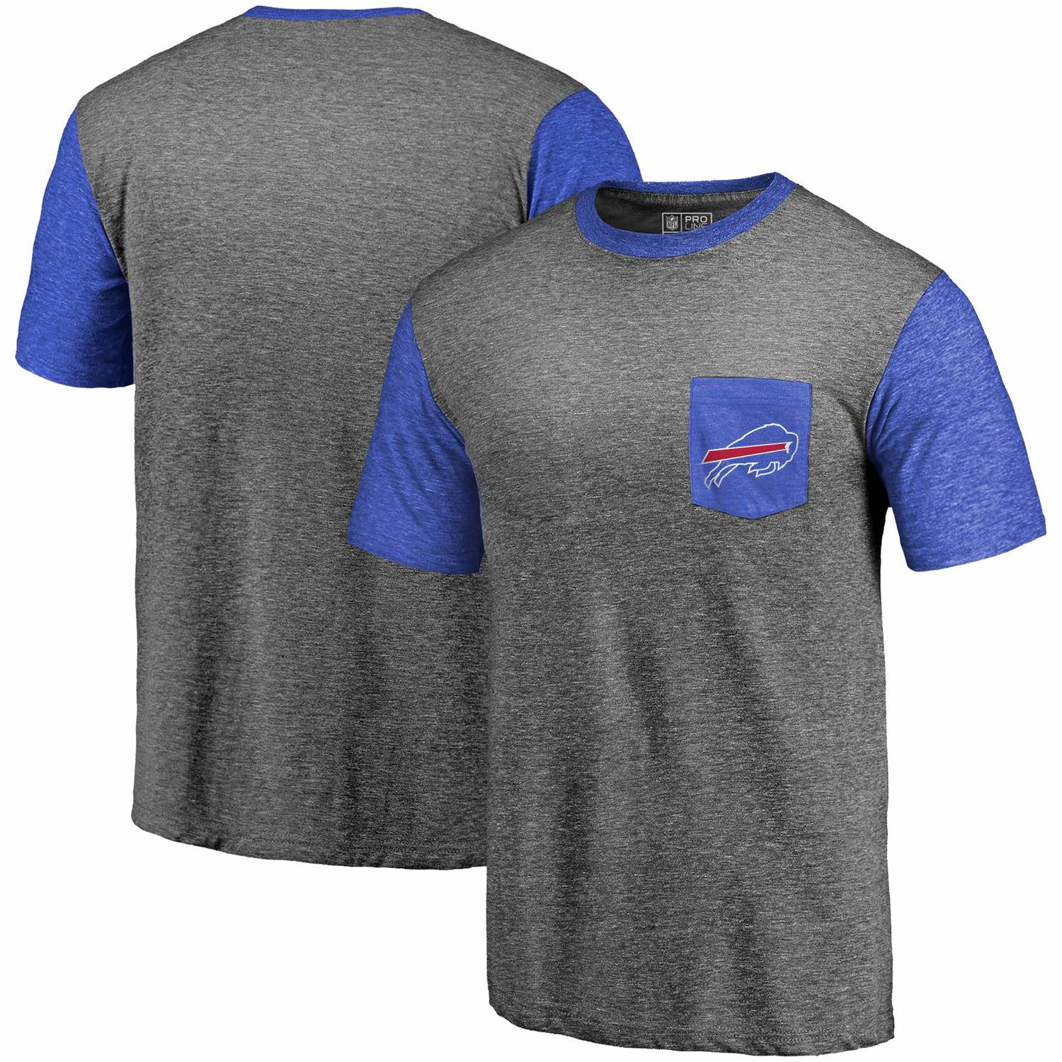 Men's Buffalo Bills Pro Line by Fanatics Branded Heathered Gray-Royal Refresh Pocket T-Shirt