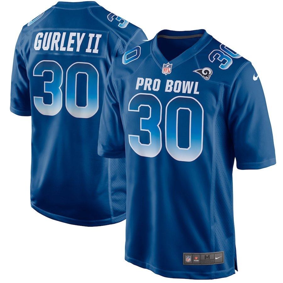 Men's NFC Los Anagels Rams #30 Todd Gurley II Royal 2019 Pro Bowl NFL Game Jersey
