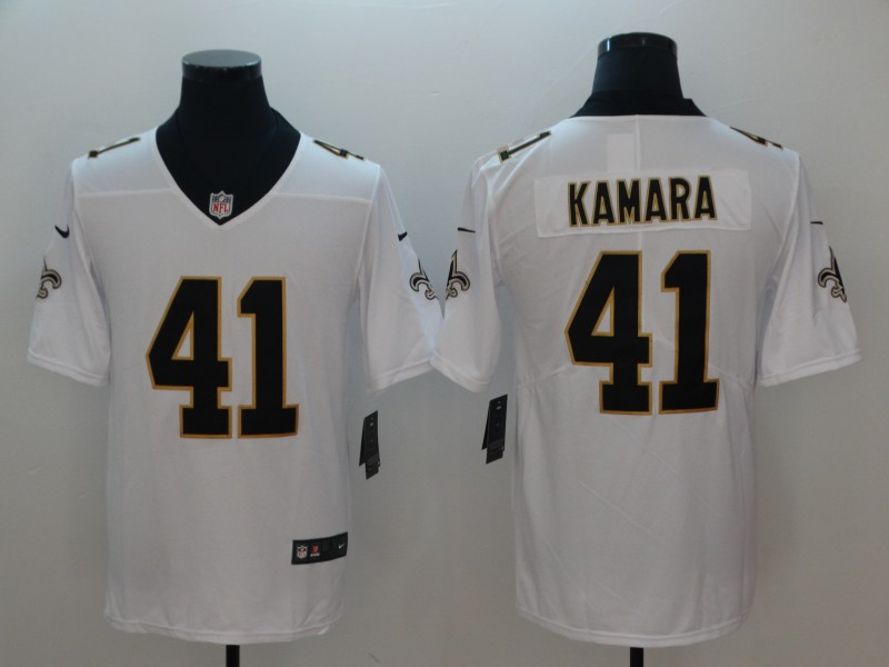 Men's Nike New Orleans Saints #41 Alvin Kamara White Vapor Untouchable Limited Stitched NFL Jersey