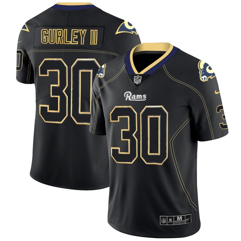 Men's Rams #30 Todd Gurley II NFL 2018 Lights Out Black Color Rush Limited Stitched Jersey