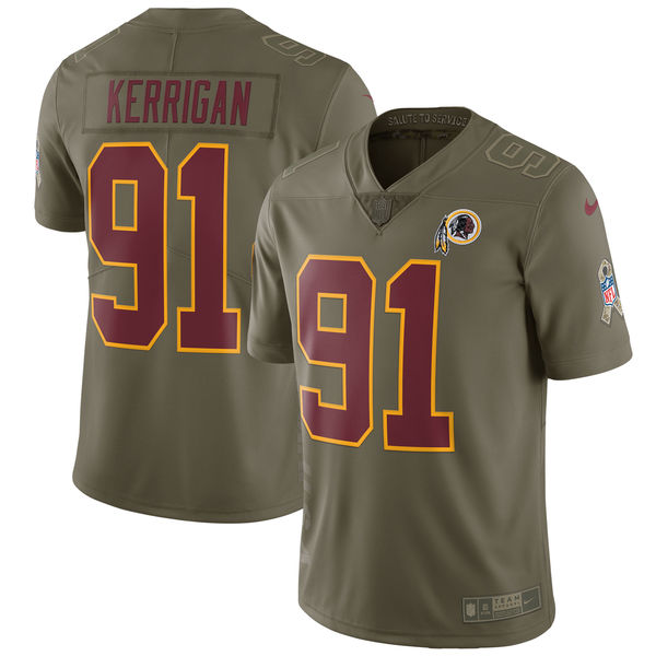 Men's Nike Washington Redskins #91 Ryan Kerrigan Olive Salute to Service Limited Stitched NFL Jersey