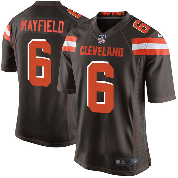 Men's Cleveland Browns #6 Baker Mayfield Brown 2018 NFL Draft First Round Pick Game Jersey