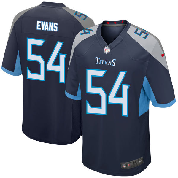 Men's Tennessee Titans #54 Rashaan Evans Navy 2018 NFL Draft First Round Pick Game Jersey