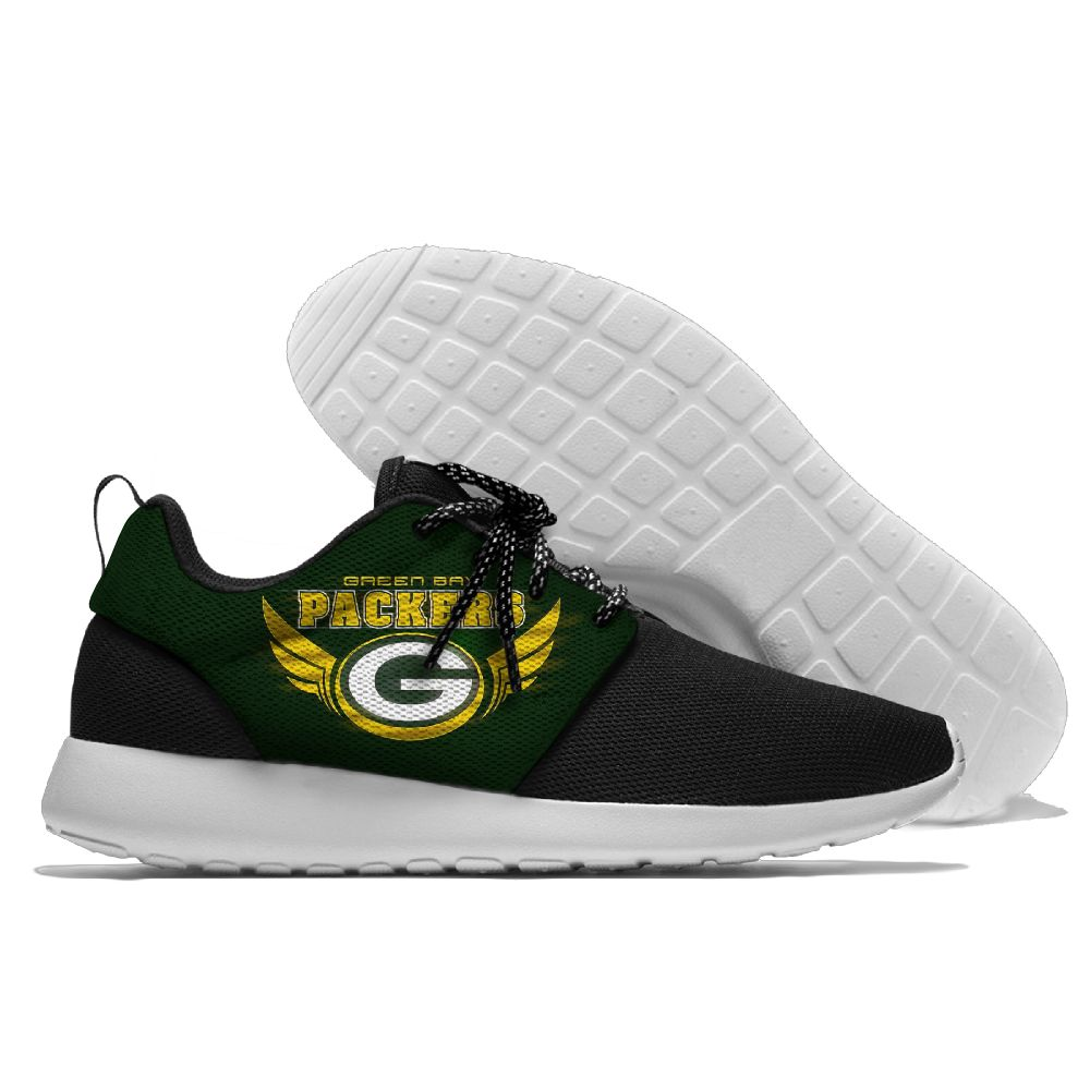 Women's NFL Green Bay Packers Roshe Style Lightweight Running Shoes 004