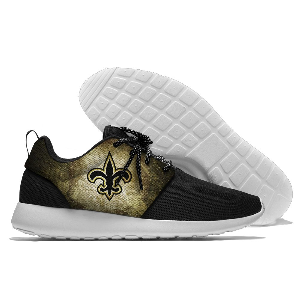Men's NFL New Orleans Saints Roshe Style Lightweight Running Shoes 004