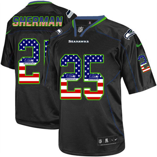 Men's Nike Seahawks #25 Richard Sherman Black USA Flag Fashion Elite Stitched Jersey