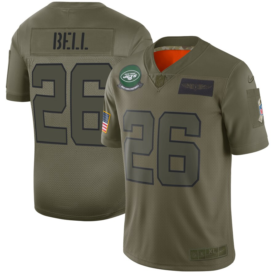 Men's New York Jets #26 Le'Veon Bell 2019 Camo Salute To Service Limited Stitched NFL Jersey.