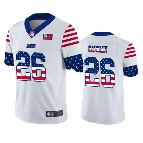 Men's New York Giants #26 Saquon Barkley White 2019 USA Flag Fashion Limited Stitched NFL Jersey