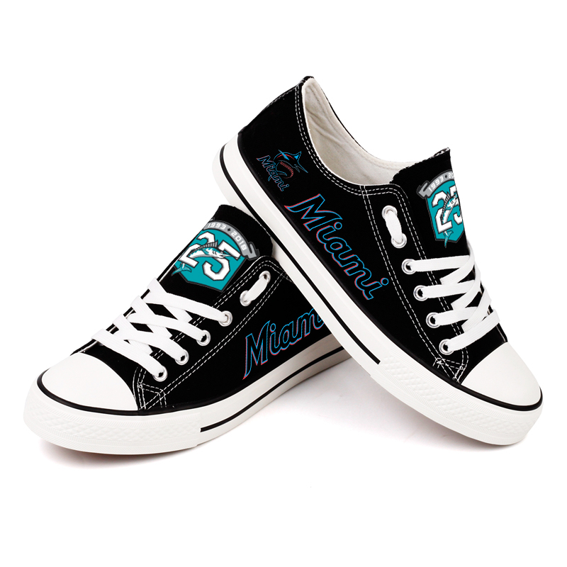 Women and Youth MLB Miami Marlins Repeat Print Low Top Sneakers 002