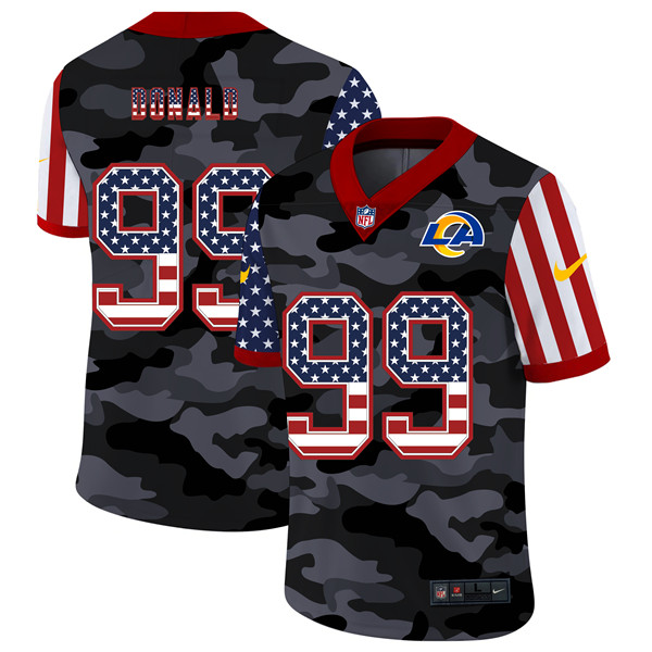 Men's Los Angeles Rams #99 Aaron Donald 2020 Camo USA Flag Limited Stitched NFL Jersey