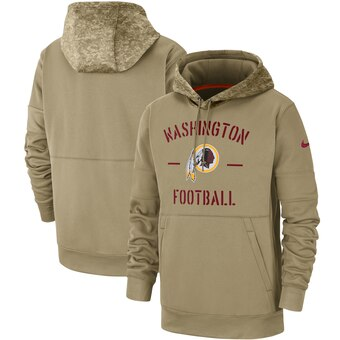Men's Washington Redskins Tan 2019 Salute To Service Sideline Therma Pullover Hoodie.