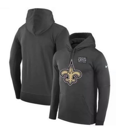 Men's New Orleans Saints 2019 Anthracite Crucial Catch Performa Hoodie