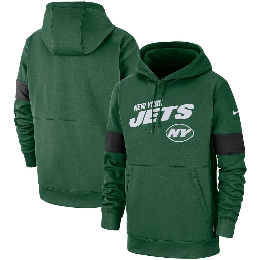 Men's New York Jets Green Sideline Team Logo Performance Pullover Hoodie