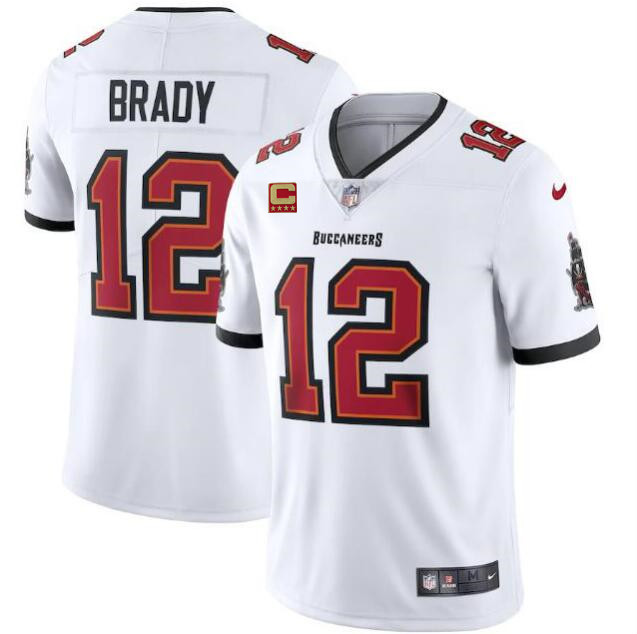 Men's Tampa Bay Buccaneers #12 Tom Brady New White With C Patch Vapor Untouchable Limited Stitched NFL Jersey