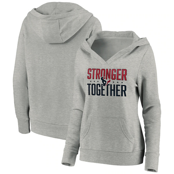 Women's Houston Texans Heather Gray Stronger Together Crossover Neck Pullover Hoodie(Run Small)