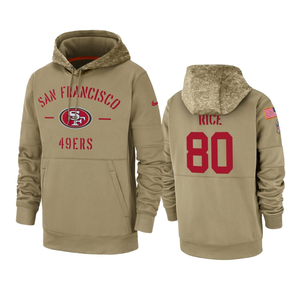 Men's San Francisco 49ers #80 Jerry Rice Tan 2019 Salute To Service Sideline Therma Pullover Hoodie