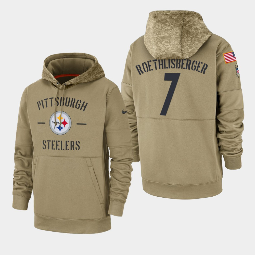 Men's Pittsburgh Steelers #7 Ben Roethlisberger Tan 2019 Salute To Service Sideline Therma Pullover Hoodie