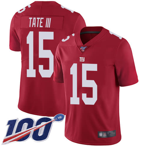 Men's New York Giants #15 Golden Tate III Red 2019 100th Season Vapor Untouchable Limited Stitched NFL Jersey