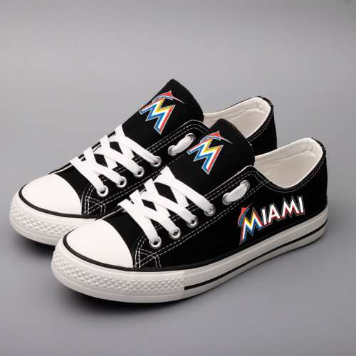 Women and Youth MLB Miami Marlins Repeat Print Low Top Sneakers