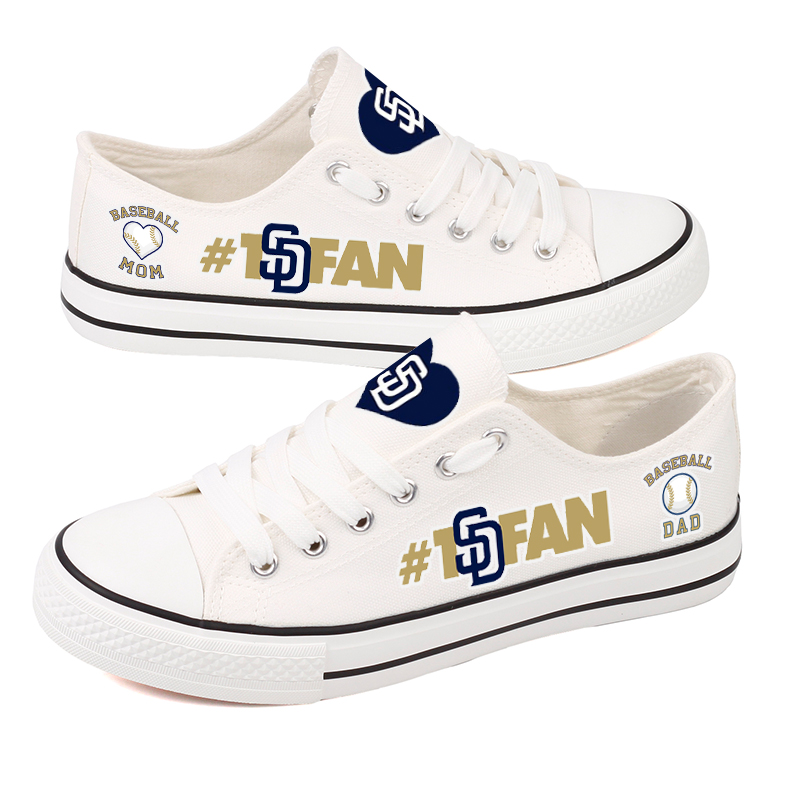 Women and Youth MLB San Diego Padres Repeat Print Low Top Sneakers 003