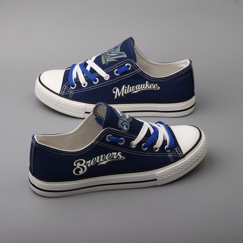 Women and Youth MLB Milwaukee Brewers Repeat Print Low Top Sneakers