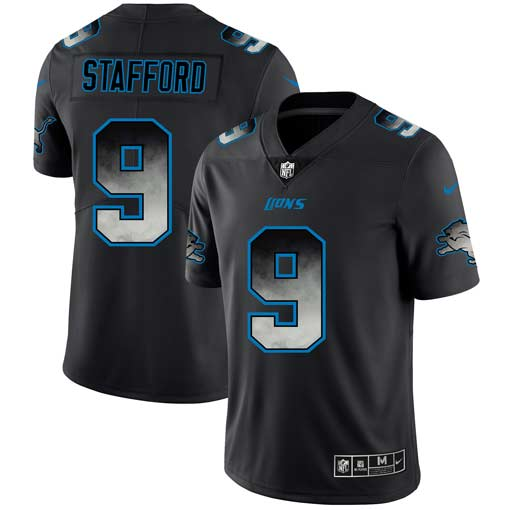 Men's Detroit Lions #9 Matthew Stafford 2019 Black Smoke Fashion Limited Stitched NFL Jersey