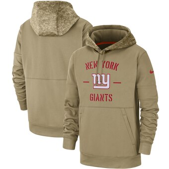 Men's New York Giants Tan 2019 Salute To Service Sideline Therma Pullover Hoodie
