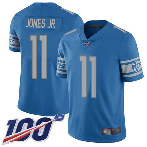 Men's Detroit Lions #11 Marvin Jones Jr. Blue 2019 100th Season Vapor Untouchable Limited Stitched NFL Jersey.