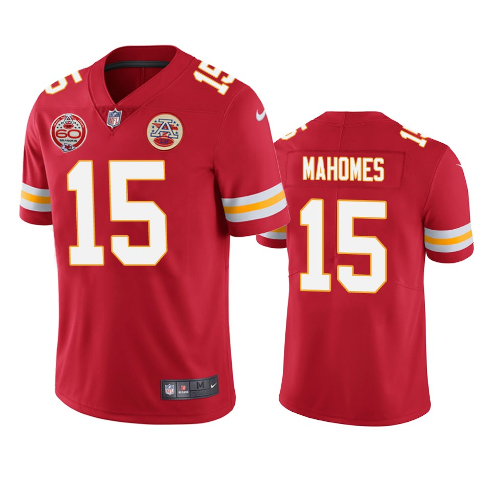 Men's Kansas City Chiefs #15 Patrick Mahomes Red 2019 60th Anniversary Limited Stitched NFL Jersey