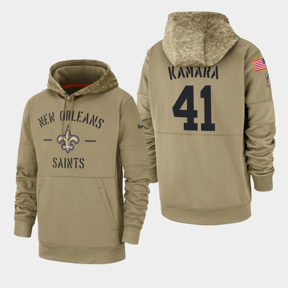 Men's New Orleans Saints #41 Alvin Kamara Tan 2019 Salute To Service Sideline Therma Pullover Hoodie
