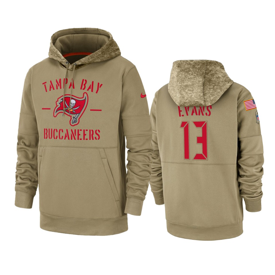 Men's Tampa Bay Buccaneers #13 Mike Evans Tan 2019 Salute to Service Sideline Therma Pullover Hoodie