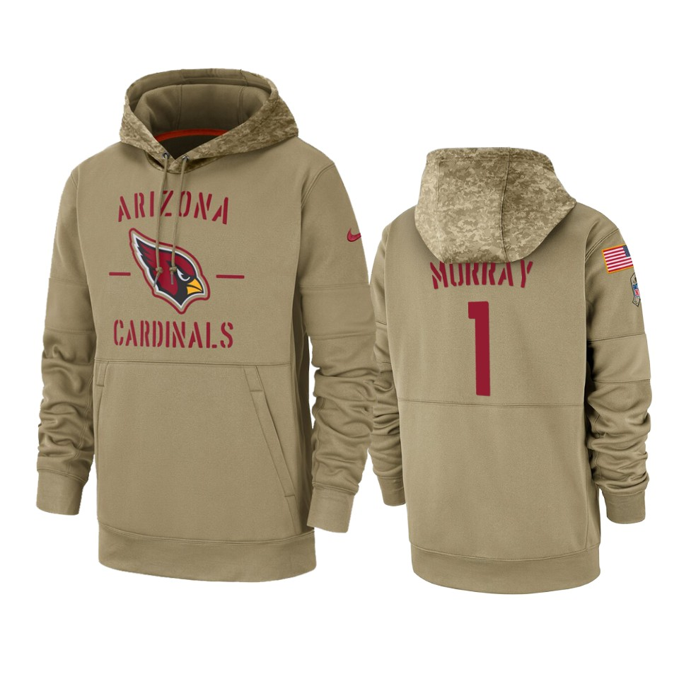 Men's Arizona Cardinals #1 Kyler Murray Tan 2019 Salute to Service Sideline Therma Pullover Hoodie