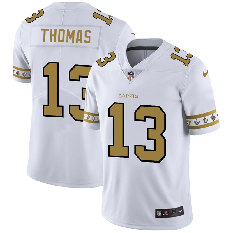 Men's New Orleans Saints #13 Michael Thomas White 2019 Team Logo Cool Edition Stitched NFL Jersey