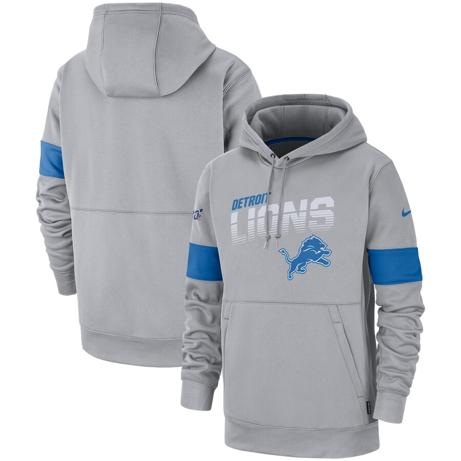 Men's Detroit Lions Grey Sideline Team Logo Performance Pullover Hoodie