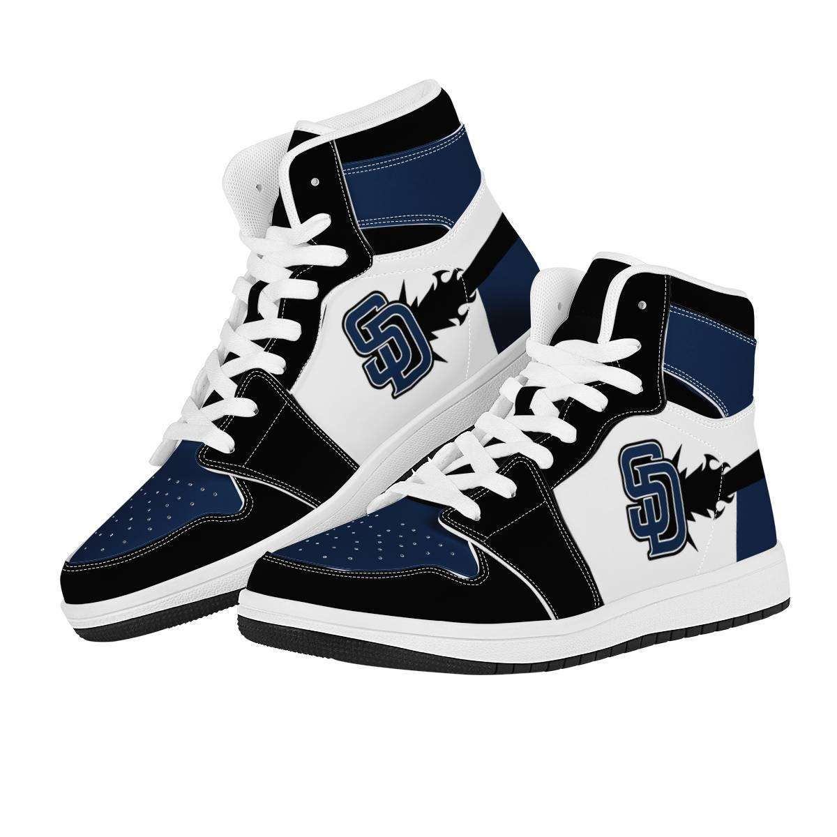 Men's San Diego Padres High Top Leather AJ1 Sneakers 001