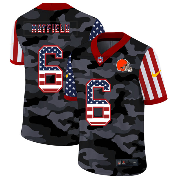 Men's Cleveland Browns #6 Baker Mayfield 2020 Camo USA Flag Limited Stitched NFL Jersey