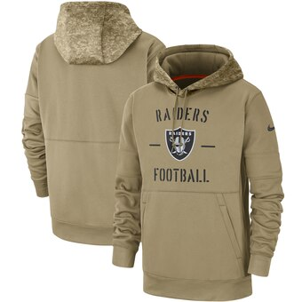 Men's Oakland Raiders Tan 2019 Salute To Service Sideline Therma Pullover Hoodie.