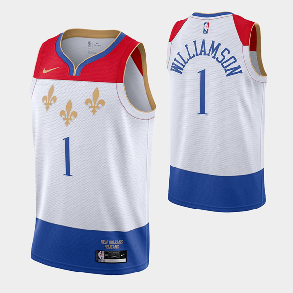 Men's New Orleans Pelicans #1 Zion Williamson White City Edition New Uniform 2020-21 Stitched NBA Jersey