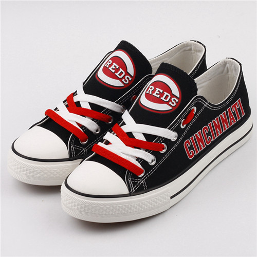 Women and Youth MLB Cincinnati Reds Repeat Print Low Top Sneakers 002