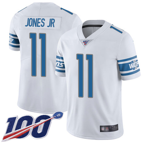 Men's Detroit Lions #11 Marvin Jones Jr. White 2019 100th Season Vapor Untouchable Limited Stitched NFL Jersey.