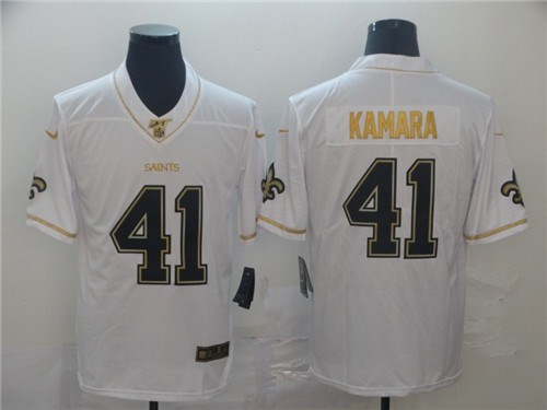 Men's New Orleans Saints #41 Alvin Kamara White 2019 100th Season Golden Edition Limited Stitched NFL Jersey