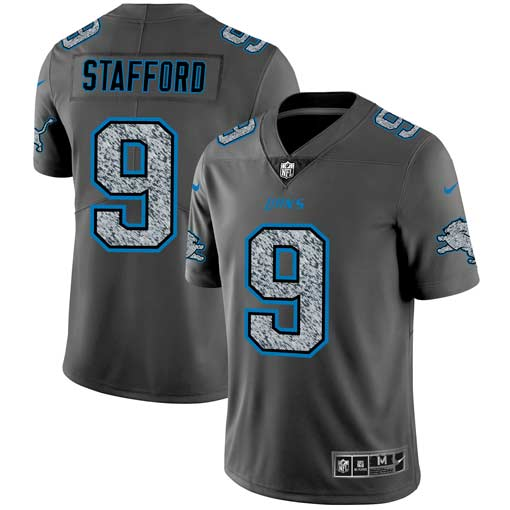 Men's Detroit Lions #9 Matthew Stafford 2019 Gray Fashion Static Stitched NFL Jersey