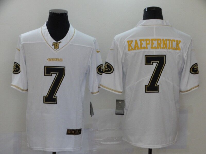 Men's San Francisco 49ers #7 Colin Kaepernick White Golden Edition Stitched Jersey